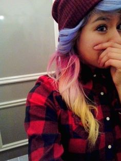 My current hair :) Lavender, pink, and yellow& Sunset Hair, Girly Things, Dyed Hair, Plaid Scarf, Cool Hairstyles, Lavender, Hair Makeup, Hair Color, Make Up