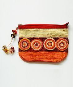 crocheted raffia ethnic clutch boho bag