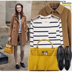 Street Style. Stripes. Camel. Mustard Bag. Black Shoes. Paris, created by rebecca-costanza.polyvore.com