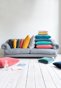 Now that's a BRIGHT IDEA! For we've launched 25 new fabrics, including thi… - Cushions Velvet Furniture, Sofa Furniture, Furniture Design, Painted Furniture, Cushions For Grey Sofa, Velvet Cushions, Colourful Lounge, Colourful Cushions, Sofa Colors