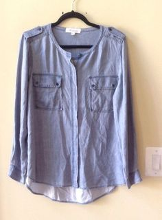 NWT TWO by  VINCE CAMUTO WOMEN'S FADED BLUE  RAYON LONG SLEEVE BLOUSE SZ M-$109 #Vince #Blouse