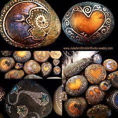 Meditation Rocks-Natural Rocks and Stones Embellished by Artist Julie Ann Stricklin