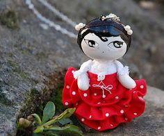 "Artistic Doll # Brooch # Necklace # ""Pequeña Alta Costura"" # Petite Haute Couture # Mageritdoll Collection: Flamenco Fashion 2010"