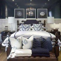 navy blue bedroom design cottage bedroom phoebe howard - Brown Bedroom Colors