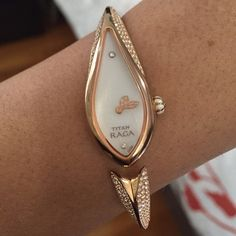 Swarovski 200 Handlaid crystal watch by Titan Raga Gorgeous rose gold Titan bracelet watch with genuine 200 handset Swarovski crystals in band, mother of pearl dial oval shape 14mm wide and 30mm long, pearlised enamel inlaid crown. In beautiful condition. Titan Raga Swarowski Accessories Watches