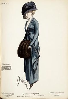 This fashion plate is from La Nouvelle Mode, a weekly fashion journal published in Paris. Dated 1909, the plate is one in a collection of plates from the journal, compiled in a book entitled 'Book of Fashion Plates from La Nouvelle Mode: Fashions 1908-1911
