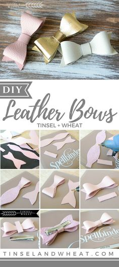 Cutest DIY Leather Bows - Step by step instructions and pictures! Diy Hair Bows, Diy Bow, Diy Hair Clips, Unique Hair Bows, Felt Hair Bows, Handmade Hair Bows, Ribbon Hair, Handmade Flowers, Diy Leather Bows