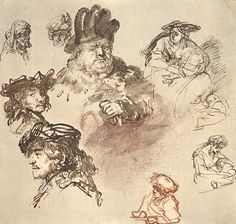 Rembrandt - study of heads and figures