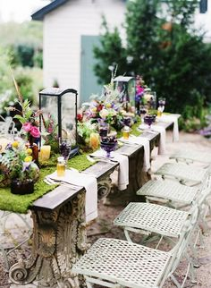 That is a table runner made of moss. I need one for outdoor dining. :) Colorful Wildflower Table Decor -what a table! Wedding Shoot, Wedding Table, Rustic Wedding, Wedding Blog, Woodland Wedding, Wedding Paper, Fall Wedding, Wedding Reception, Wedding Ideas