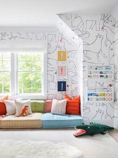 Playroom Design, Playroom Decor, Kids Room Design, Kids Decor, Home Decor, Kid Playroom, Playroom Seating, Children Playroom, Playroom Flooring