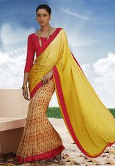 Ftrendy Yellow colored Georgette  Printed Saree