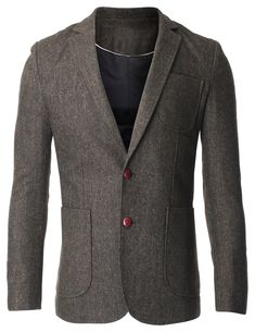 FLATSEVEN Men's Herringbone Tweed Sport Coat Wool Blazer Jacket with Elbow Patches (BJ426) Khaki, US XS/Asia M