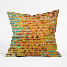 Southwestern colors converge here with a shot of humid weather and a drizzle of rain. The combination makes for an unforgettable pillow. Choose either pillow with insert or cover only.  Find the Technicolor Raindrops Pillow, as seen in the Curated Category: Throw Pillows Collection at http://dotandbo.com/collections/category-decor-and-pillows-pillows-throw-pillows?utm_source=pinterest&utm_medium=organic&db_sku=DNY0207