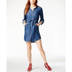 Tommy Hilfiger Denim Shirtdress, ($100) ❤ liked on Polyvore featuring dresses, indigo, t-shirt dresses, long denim shirt dress, white day dress, long shirt dress and tommy hilfiger
