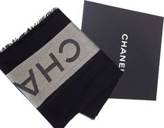 CHANEL Silver Black Wool Cashmere Silk Stole Scarf