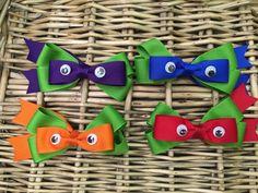 Set of 4 Ninja Turtle hair bows by momof3lai on Etsy