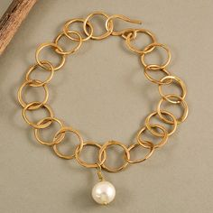 Tumbaga adjustable circle bracelet with white pearl, stylish golden bracelet with pearl, elegant tumbaga bracelet, gift idea by NataliaNorenasilver on Etsy