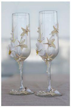 Pearl Wedding Glasses. Wedding champagne glasses hand painted. Champagne Glasses For Beach Wedding