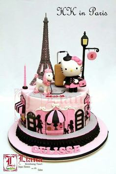 Hello Kitty in Paris ! *Sorry , is on a beautiful Paris Cake ! *