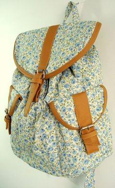 Mochila 2 Bolsos Floral Azul - O Guarda Roupa de Fifi