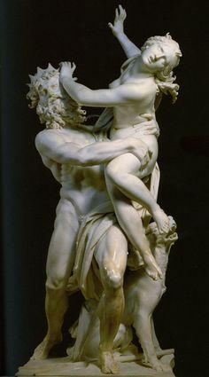 Bernini's Pluto and Persephone, 1621-1622. Denne skulptur forestiller en kvinde der bliver taget til underverdenen af guden Pluto. Materialet er marmor. Den er 225 cm høj. Den er fra tiden 1621-22