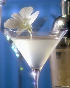 These cosmopolitains remain frosty and clear thanks to white-cranberry juice. Garnish the cocktails with a white orchid or fresh cranberries on a skewer for a holiday touch.