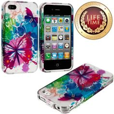 Amazon.com: myLife (TM) Colorful Butterflies and Splat Flowers Series (2 Piece Snap On) Hardshell Plates Case for the iPhone 4/4S (4G) 4th G...