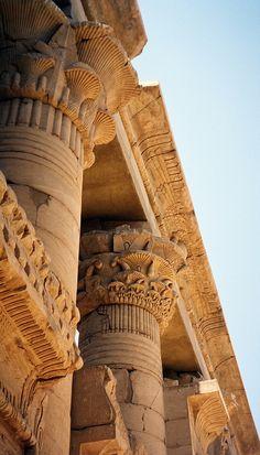 Columns of Kom Ombo Temple, Aswan, Egypt. معبد كوم امبو أسوان مصر العربية ,  built during the Ptolemaic dynasty