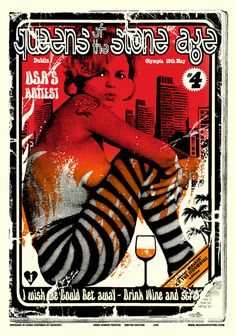Queens Of The Stone Age - Concert Poster (Dublin) Rock Posters, Band Posters, Music Posters, Rock Roll, Stoner Rock, Vintage Rock, Stone Age, Illustrations And Posters, Erotic Art
