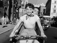 "Audrey Hepburn and Gregory Peck on the White Vespa in ""Roman Holiday"""