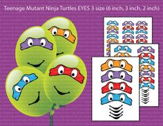 INSTANT DL-Teenage Mutant Ninja Turtles EYES 3 size -for Balloon, Stickers, Lollipop, Favor bags, Cups - (Set of 3 sizes)