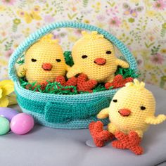 Three Chicks in a Basket, easter crochet pattern, free crochet pattern
