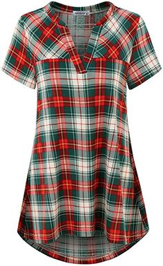 MOQIVGI Buffalo Plaid Shirt, Juniors V Neck Holiday Vintage Tartan Blouse Short Sleeve Boyfriend Tee Cute A-line Swing Tunic Tops for Leggings for Women Green Red Medium at Amazon Women's Clothing store: