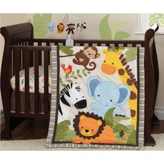 Bedtime Originals Jungle Buddies 3 Piece Crib Bedding Set