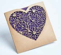 Laser cut sweetheart wallet invites perfect by Pocketfoldinvites