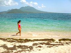 Cockelshell Beach on St. Kitts, Nevis in the background