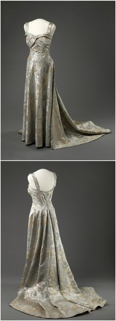 Crown Princess Märtha of Norway's gala dress, by Molstad & Co, 1953, at the National Museum of Art, Architecture and Design. See: http://digitaltmuseum.no/things/gallakjole/NMK-D/OK-1996-0089?query=gallakjole&search_context=1&page=1&count=55&pos=22