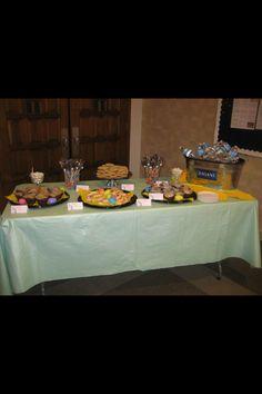 Buffet for a parent teacher conference. -Devlin Baked Goods
