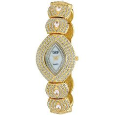 Burgi Women's BUR052YG Oval Crystal Quartz Bracelet Watch Burgi. $99.96. Save 83%!