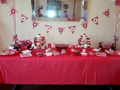 red wagon baby shower cake table