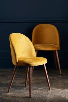 Buy Set of 2 Zola Dining Chairs With Walnut Effect Legs from the Next UK online shop Yellow Dining Chairs, Retro Dining Chairs, Fabric Dining Chairs, Leather Dining Chairs, Upholstered Dining Chairs, Dining Chair Set, Velvet Dining Chair, Dining Sets Uk, White Chairs