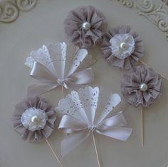 Tonos de gris elegante Cupcake Toppers en tonos de por JeanKnee, $12.75