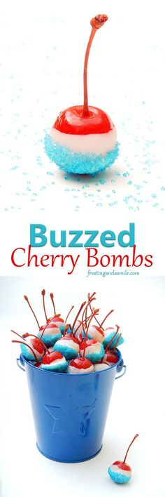 Buzzed Cherry Bombs are cherries soaked in vanilla vodka then dipped in melted candy and sprinkles. A fun red, white, and blue dessert for Fourth of July. Maybe switch vanilla vodka for whipped cream vodka. Party Drinks, Fun Drinks, Alcoholic Drinks, Beverages, Party Snacks, Tea Parties, Holiday Parties, 4th Of July Party, Fourth Of July