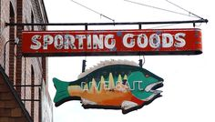 Great Old Vintage Sporting Goods / Live Bait Neon Fish Figural Sign - Ludington, Michigan Vintage Neon Signs, Vintage Ads, Fish Home, Vintage Cabin, Roadside Attractions, Old Signs, Vintage Fishing, Fishing Tips, Fishing Stuff