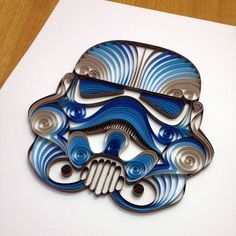 Quilled Star Wars art--Storm Trooper Helmet (BLUE).