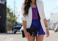 blazer branco com azul e roxo