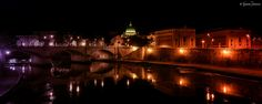 Roma - Veduta notturna di Roma da ponte Sant'Angelo