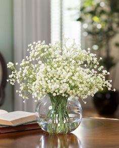 """nice  13"""" Height x 13"""" Width 5"""" Elegant Bubble Vase with Faux Acrylic Water Highly Realistic Silk Blooms   https://www.silkyflowerstore.com/product/babys-breath-accent-white/"""
