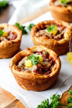 Mini Deep Dish Hawaiian Pizzas @FoodBlogs
