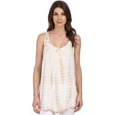 Allen Tie-Dye Racerback Tank Top Women's Sleeveless, Tan ($17) ❤ liked on Polyvore featuring tops, tan, racerback tank top, scoop neck tank top, white top, sleeveless tops and tie dye tank